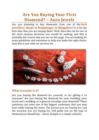 Are You Buying Your First Diamond? - Aura Jewels