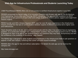 Web-App for Infrastructure Professionals and Students Launching Today