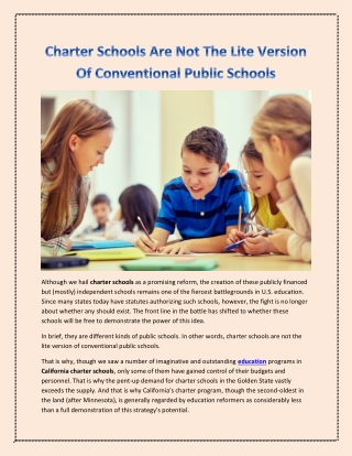 Charter Schools Are Not The Lite Version Of Conventional Public Schools
