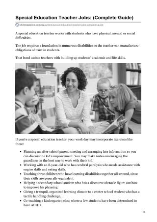 Special Education Teacher Career: Job Description, Responsibilities