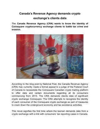 Canada's Revenue Agency Demands Crypto Exchange's Clients Data