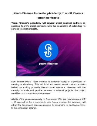 Yearn Finance to create yAcademy to audit Yearn's smart contracts
