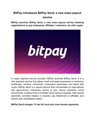 BitPay Introduces BitPay Send, A New Mass Payout Service