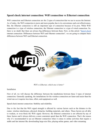 Speed check internet connection: WiFi connection vs Ethernet connection