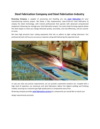 Steel Fabrication Company and Steel Fabrication Industry