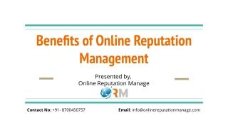 Online Reputation Manage- Benefits of Online Reputation Management