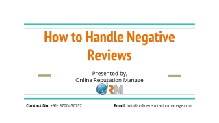 online Reputation Manage - how to handle negative reviews