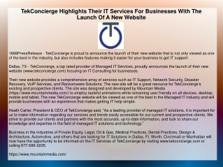 TekConcierge Highlights Their IT Services For Businesses With The Launch Of A New Website