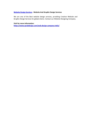 Website Design Services - Website And Graphic Design Services