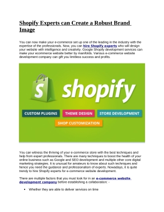 Shopify Experts Can Create a Robust Brand Image