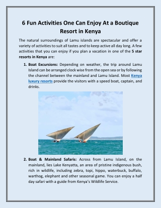 6 Fun Activities One Can Enjoy At a Boutique Resort in Kenya