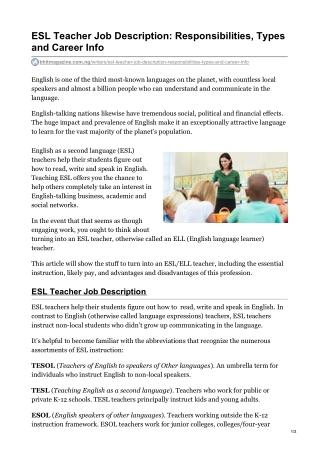 ESL Teacher Job Description: Responsibilities, Types and Career Info
