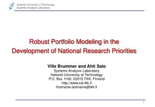 Robust Portfolio Modeling in the Development of National Research Priorities