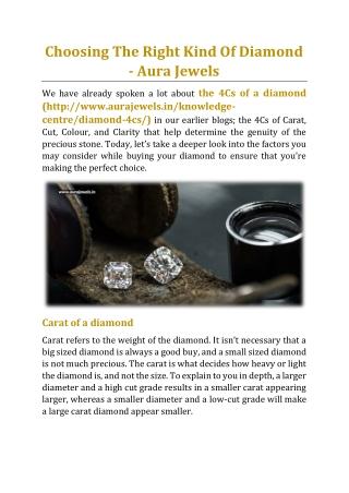 Choosing The Right Kind Of Diamond - Aura Jewels