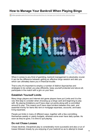 How to Manage Your Bankroll When Playing Bingo