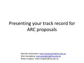 Presenting your track record for ARC proposals