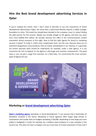 Brand development advertising