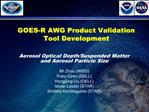 GOES-R AWG Product Validation Tool Development