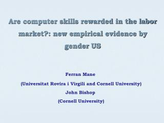 Are computer skills rewarded in the labor market: new empirical evidence by gender US