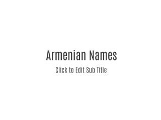 Armenian Names