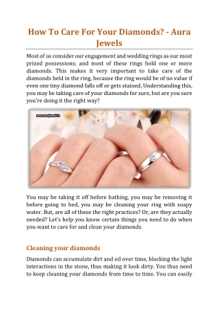 How To Care For Your Diamonds - Aura Jewels