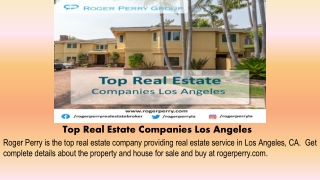 Top Real Estate Companies Los Angeles