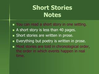 Short Stories Notes
