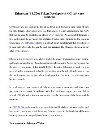Ethereum (ERC20) Token Development-OG software solutions