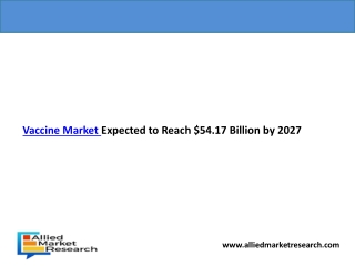 Vaccine Market Expected to Reach $54.17 Billion by 2027