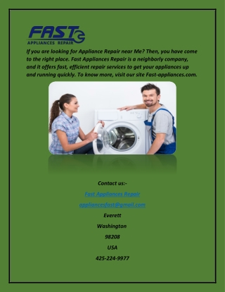 Appliance Repair | Fast Appliances Repair