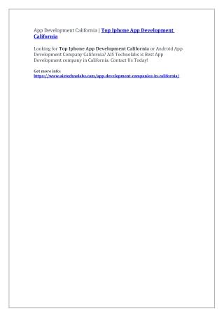App Development California | Top Iphone App Development California