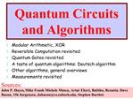 Quantum Circuits and Algorithms