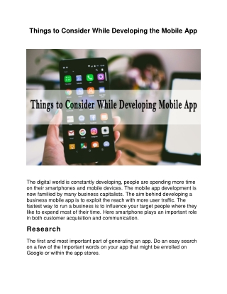 Things to Consider While Developing the Mobile App
