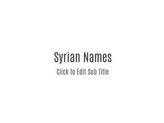 Syrian Names