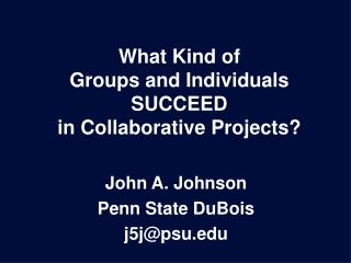 What Kind of Groups and Individuals SUCCEED in Collaborative Projects?