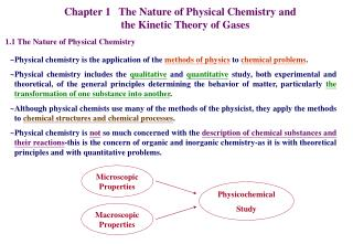 Chapter 1   The Nature of Physical Chemistry and                       the Kinetic Theory of Gases