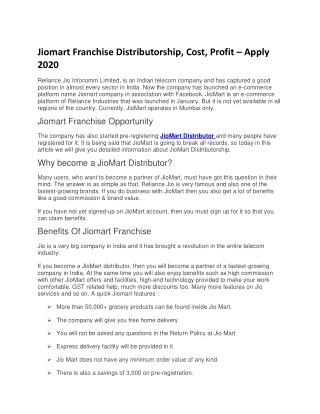 Jiomart Franchise Distributorship, Cost, Profit – Apply 2020