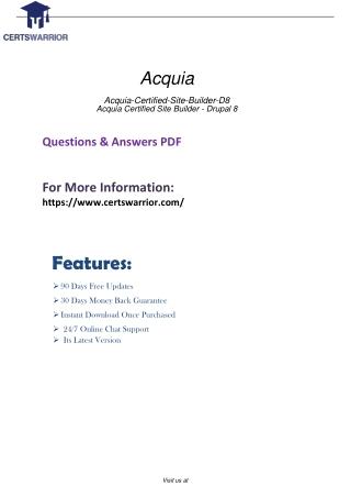 Acquia-Certified-Site-Builder-D8 Official Online Practice online Exam test