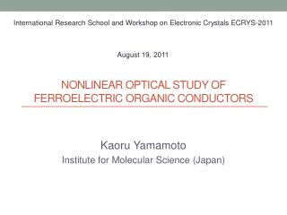 Nonlinear optical  study of  ferroelectric organic conductors