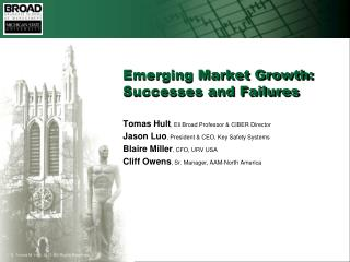 Emerging Market Growth: Successes and Failures