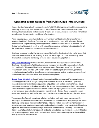 OpsRamp avoids Outages from Public Cloud Infrastructure