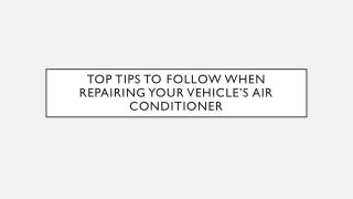 Vehicle Air Conditioner Repair