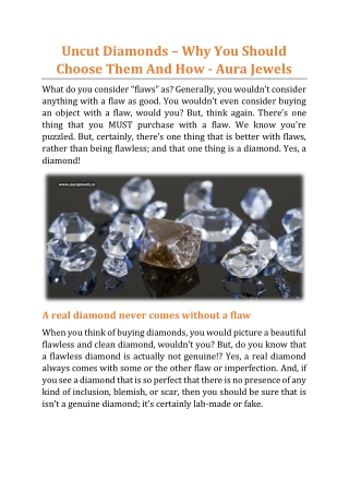 Uncut Diamonds – Why You Should Choose Them And How - Aura Jewels