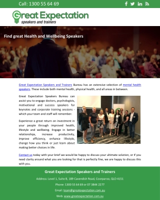 Find great Health and Wellbeing Speakers