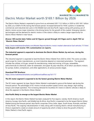Electric Motor Market worth $169.1 Billion by 2026