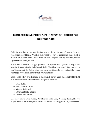 Explore the Spiritual Significance of Traditional Tallit for Sale