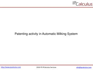 IPCalculus - Automatic Milking System Patenting Activity