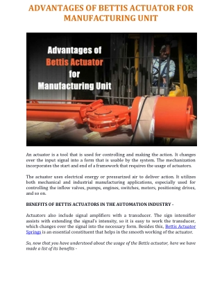 Advantages of Bettis Actuator for Manufacturing Unit