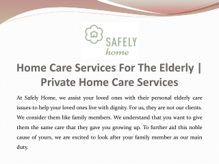 Home Care Services For The Elderly | Private Home Care Services
