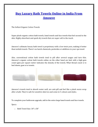 Buy Luxury Bath Towels Online in India From Amouve